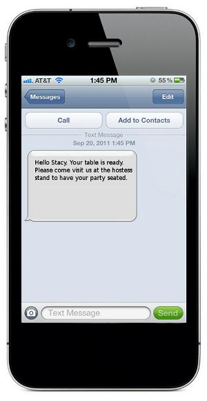SMS Text Table Wait List
